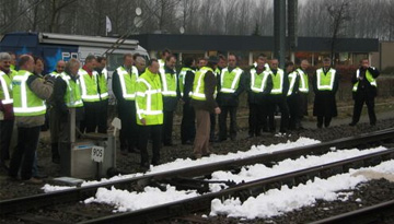 Real snow used in industial testing on train tracks