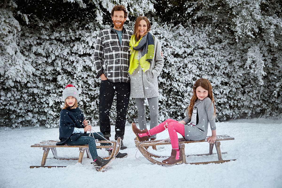Family photo shoot for Joules - with snow effects by Snow Business