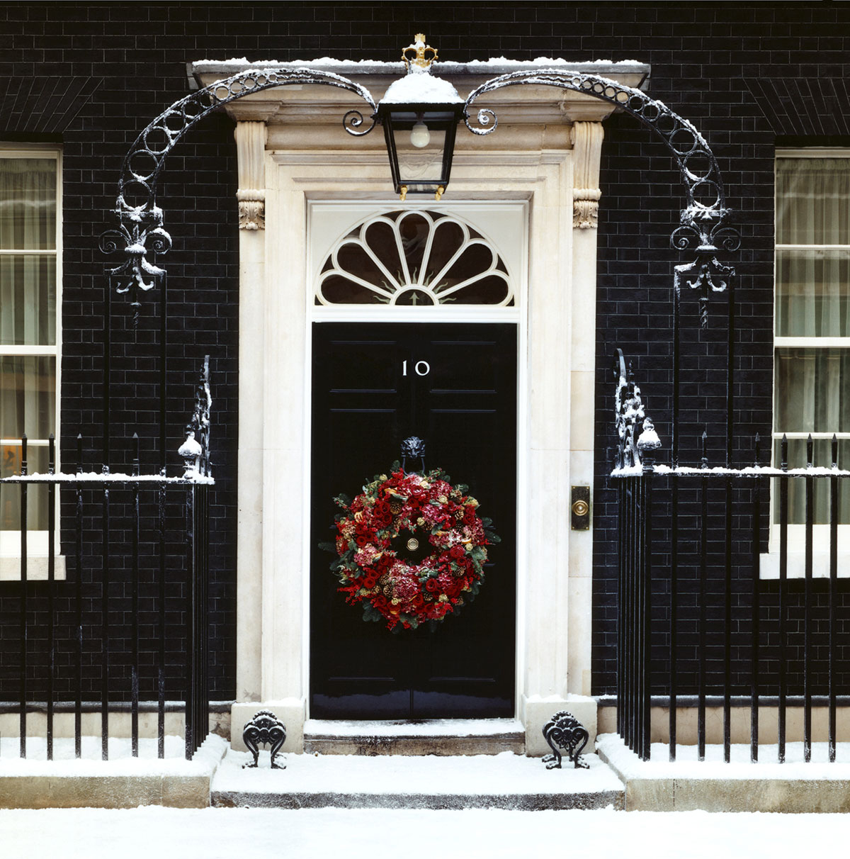 Snow Business frost effect on 10 Downing Street