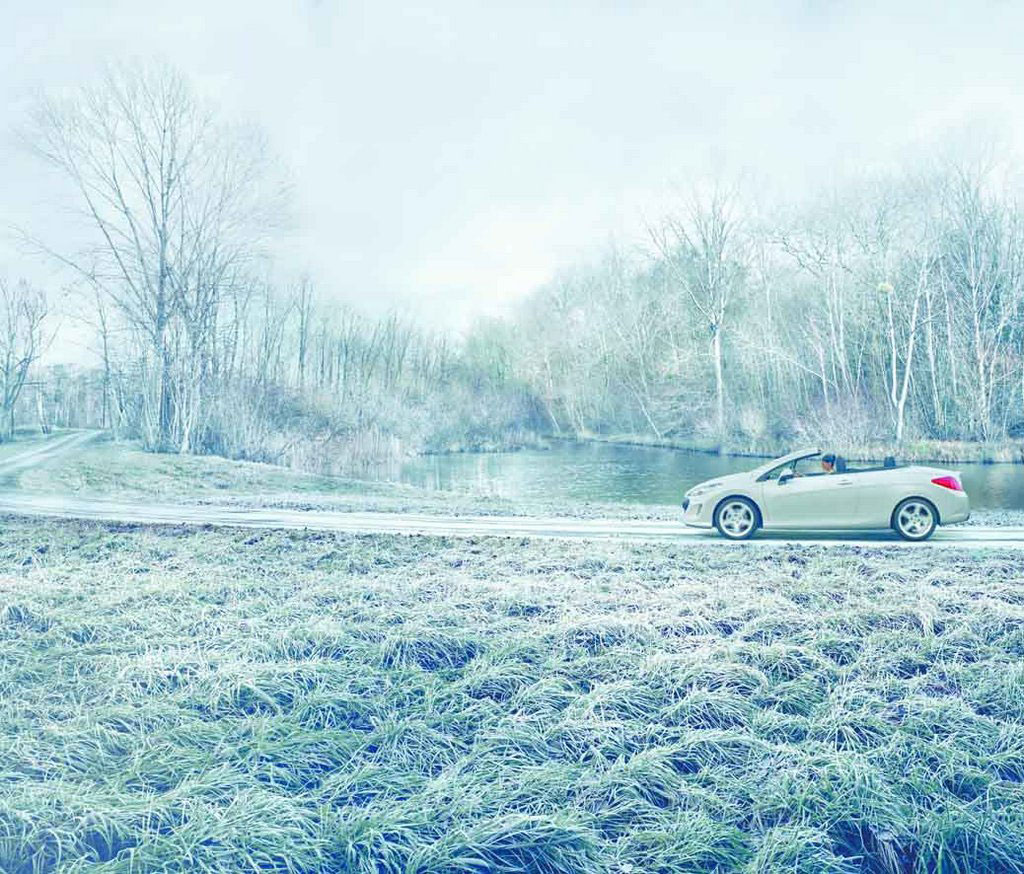 Frost effect on grass in car commercial by Snow Business