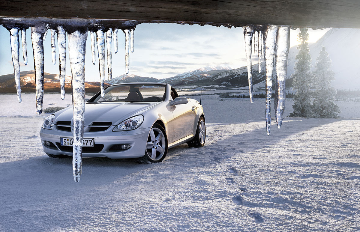 Artificial snow dressing with fake icicles for car commercial by Snow Business GMBH
